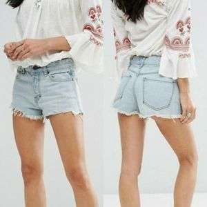 Free People Logan Frayed High Rise Denim Shorts